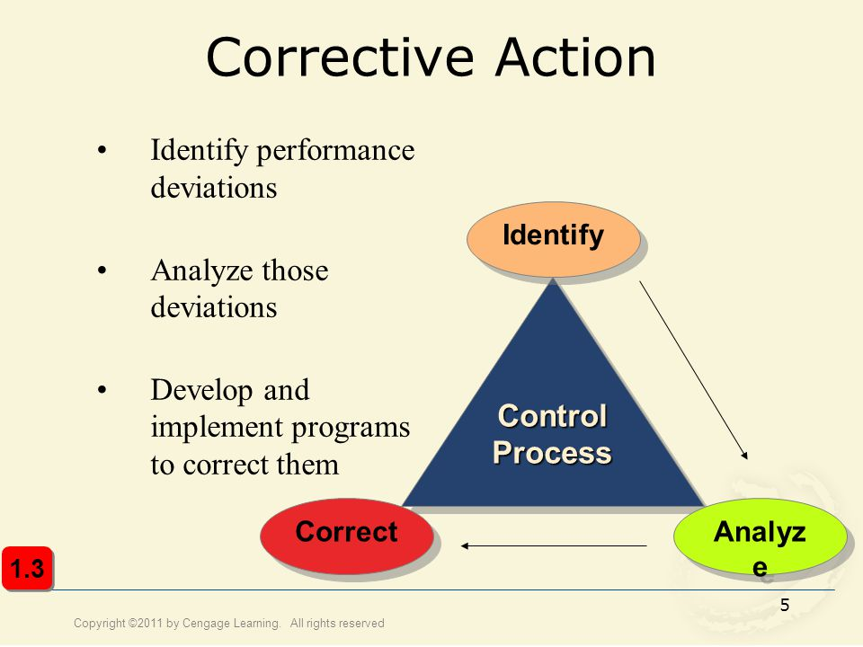 Corrective Action Identify performance deviations