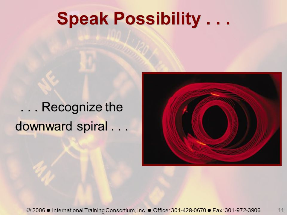 . . . Recognize the downward spiral . . .