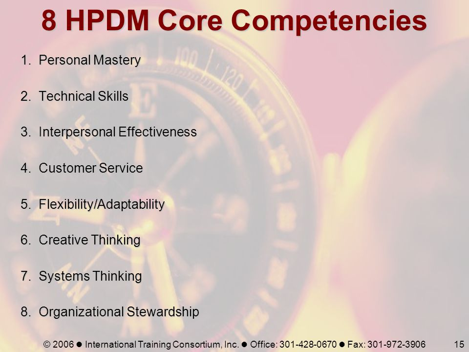 8 HPDM Core Competencies