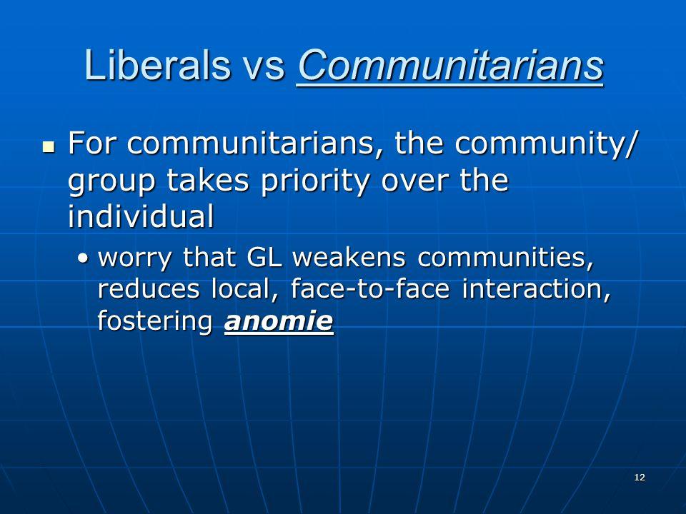 Liberals vs Communitarians