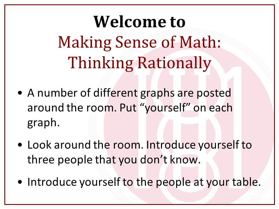 Welcome to Making Sense of Math: Thinking Rationally