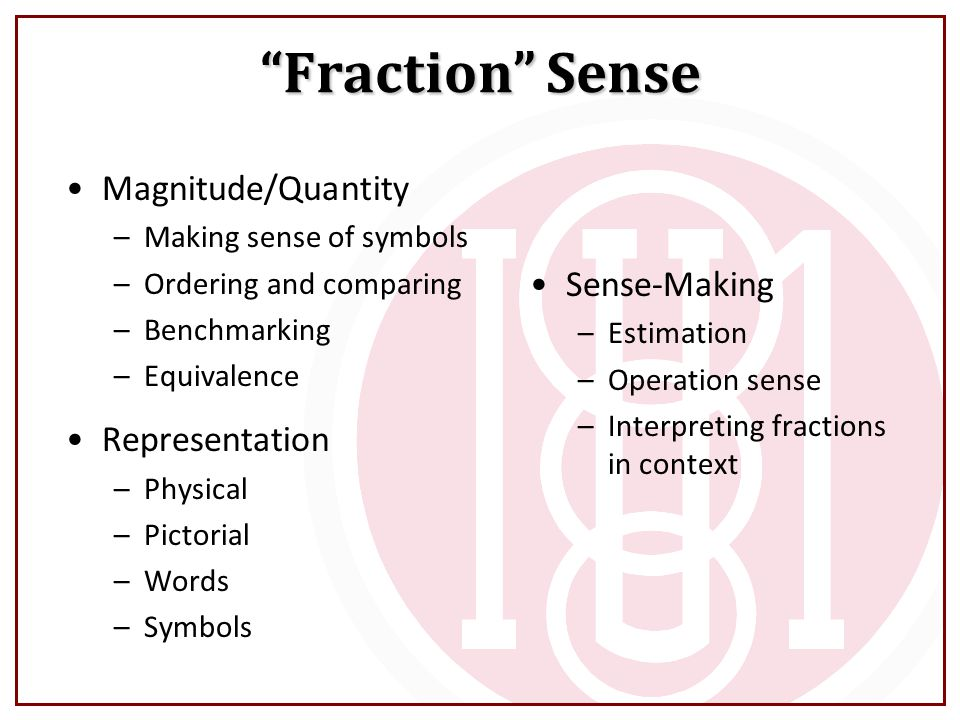 Fraction Sense Magnitude/Quantity Sense-Making Representation