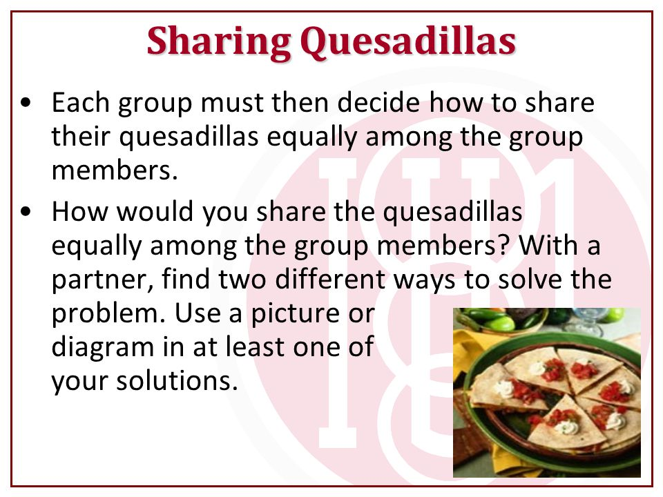 Sharing Quesadillas Each group must then decide how to share their quesadillas equally among the group members.