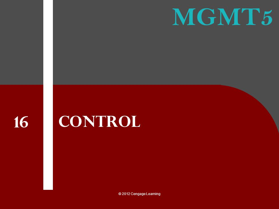 Control 16 © 2012 Cengage Learning