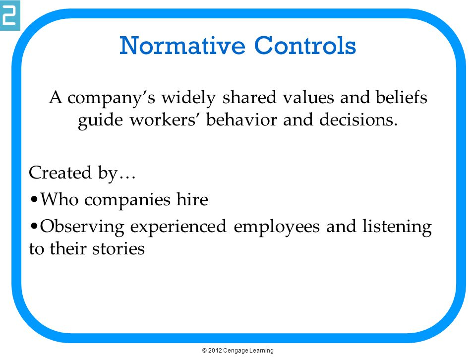 Normative Controls A company's widely shared values and beliefs guide workers' behavior and decisions.
