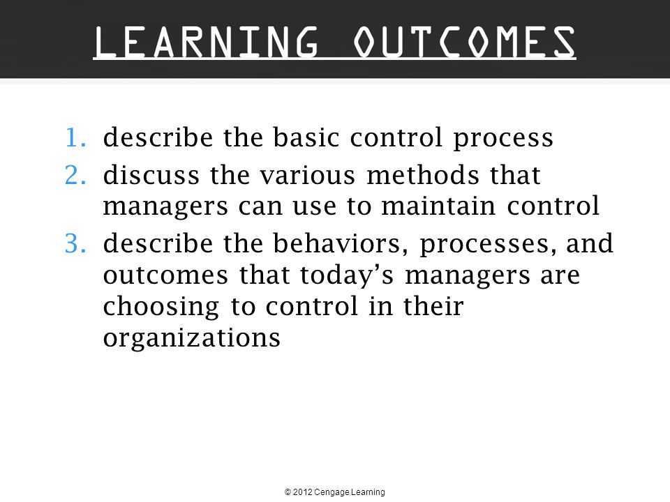 describe the basic control process