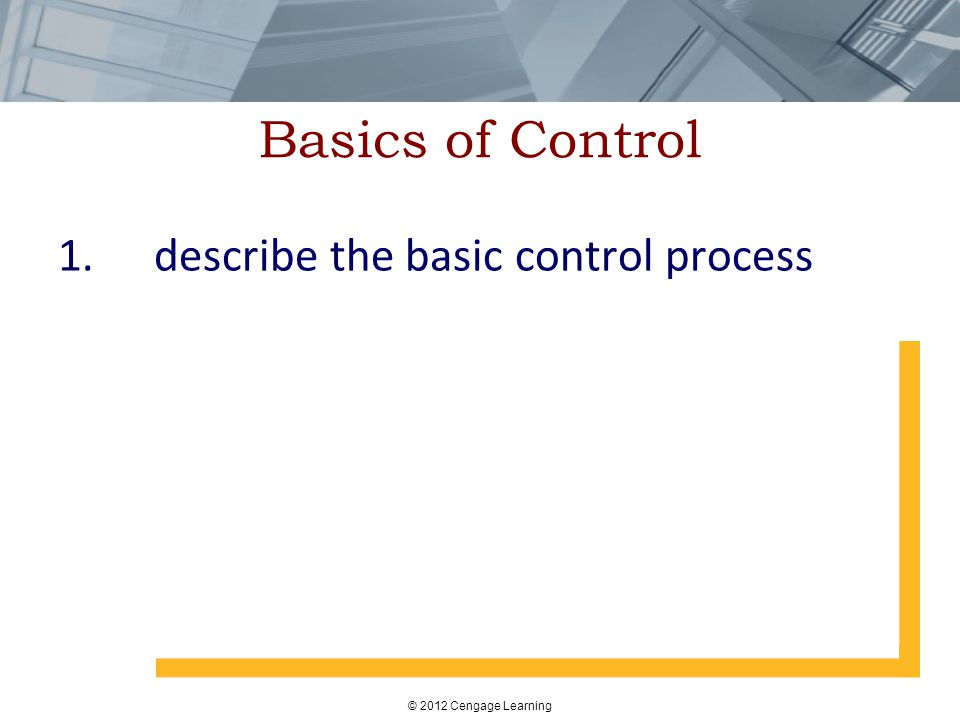 Basics of Control 1. describe the basic control process