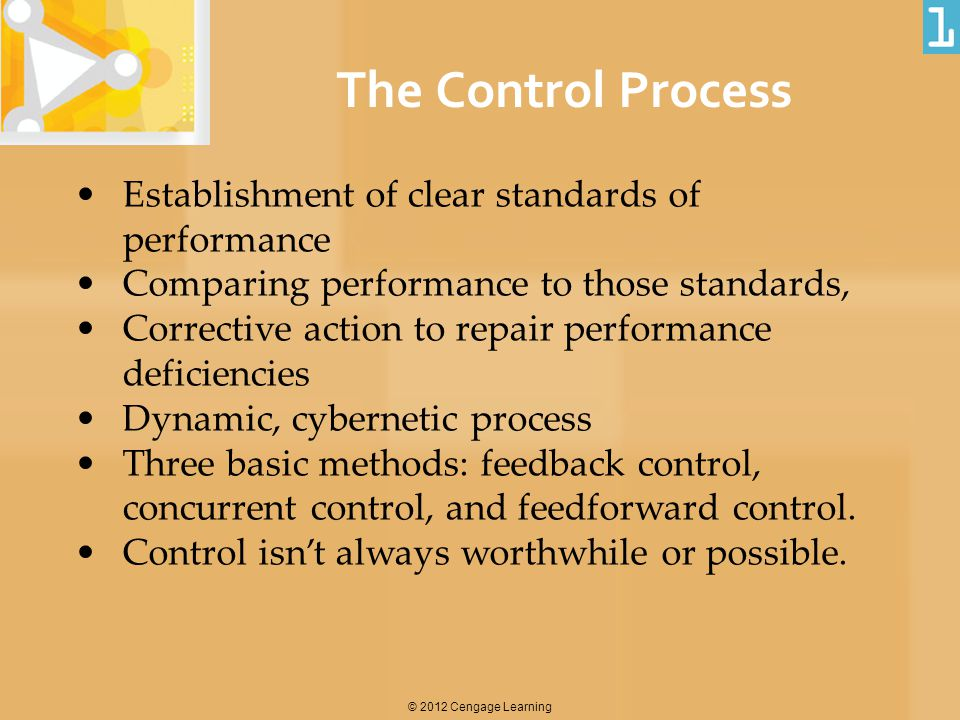 The Control Process Establishment of clear standards of performance