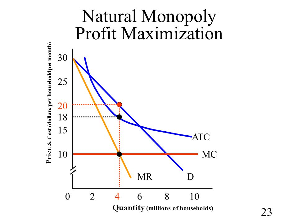Natural Monopoly Profit Maximization