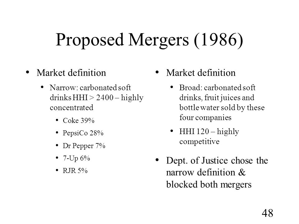 Proposed Mergers (1986) Market definition Market definition