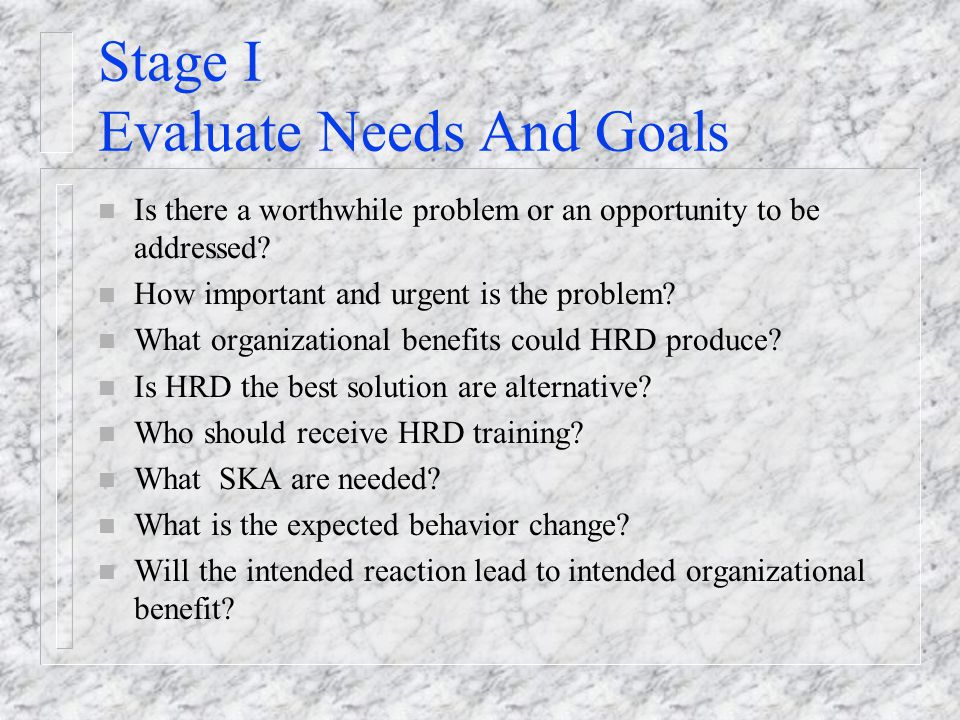 Stage I Evaluate Needs And Goals