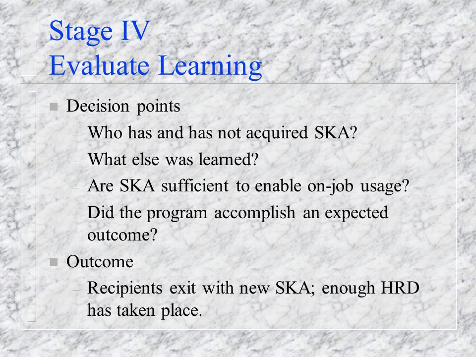 Stage IV Evaluate Learning