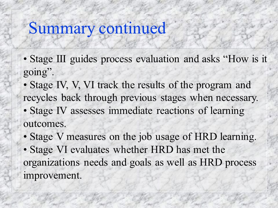 Summary continued Stage III guides process evaluation and asks How is it going .