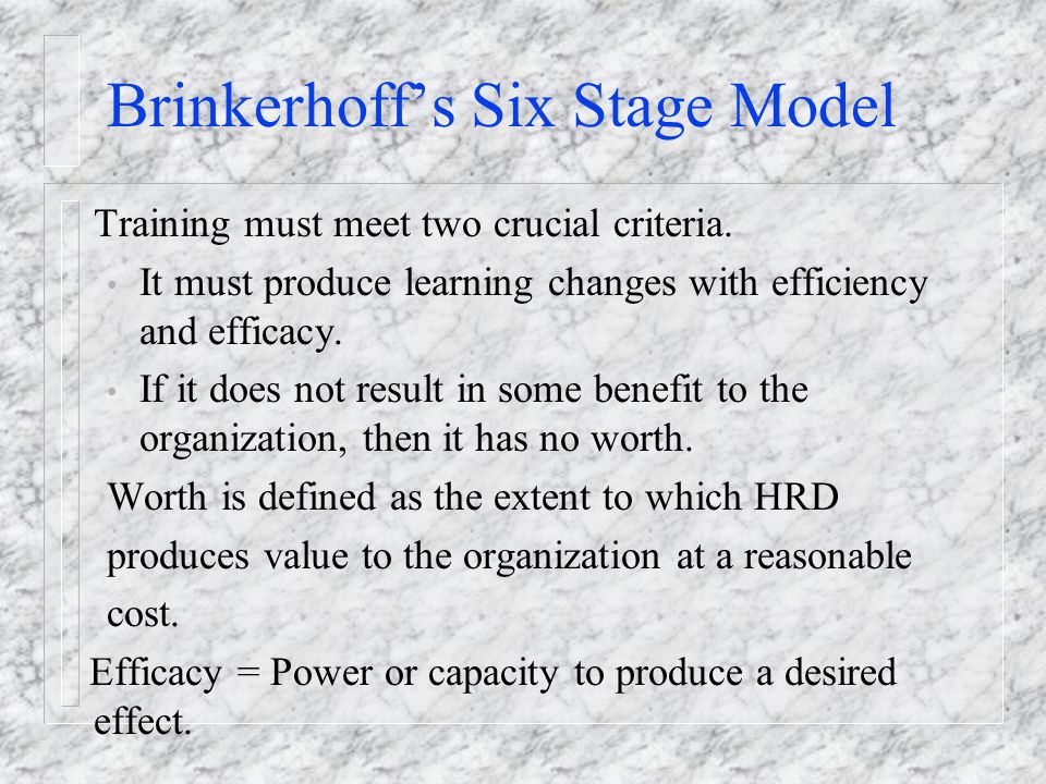 Brinkerhoff's Six Stage Model