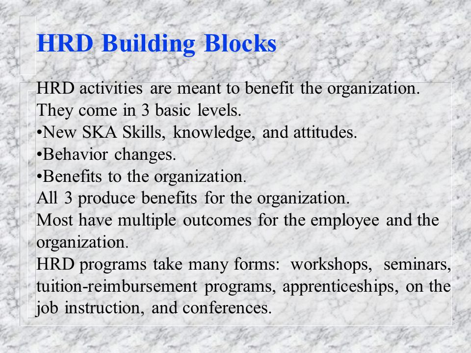 HRD Building Blocks HRD activities are meant to benefit the organization. They come in 3 basic levels.