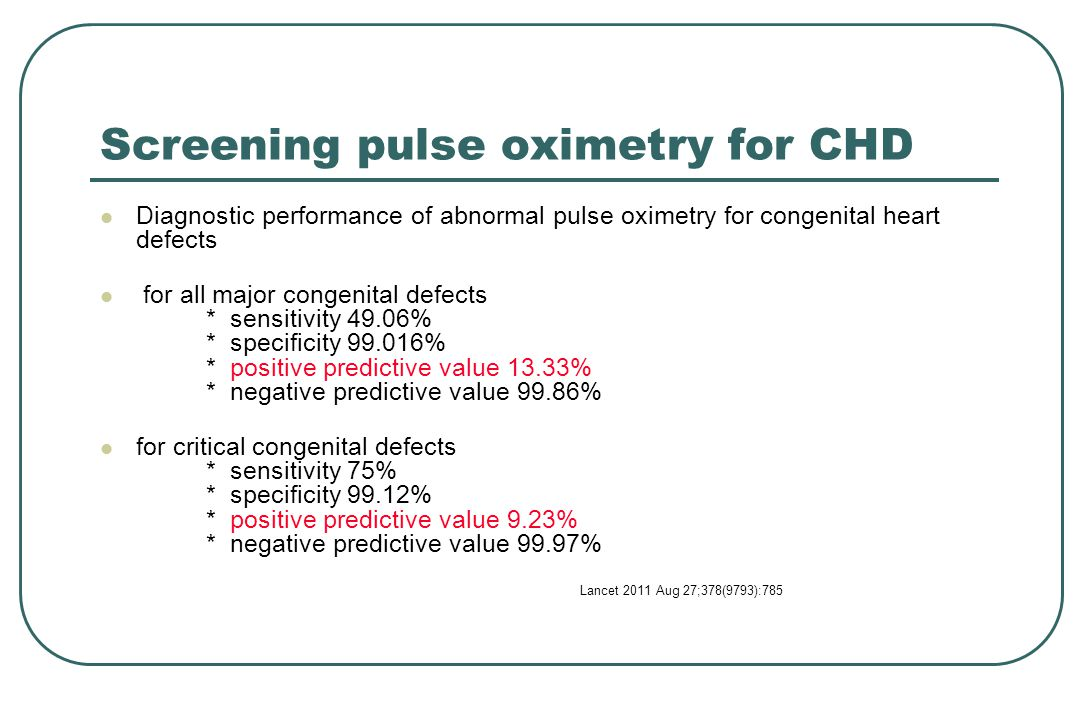 Screening pulse oximetry for CHD