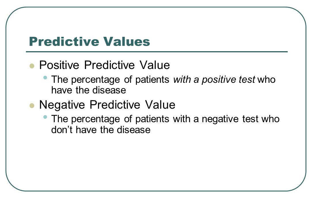 Predictive Values Positive Predictive Value Negative Predictive Value