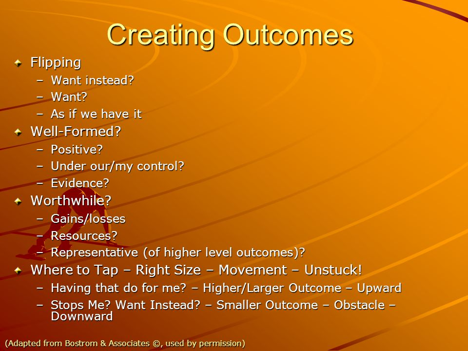 Creating Outcomes Flipping Well-Formed Worthwhile