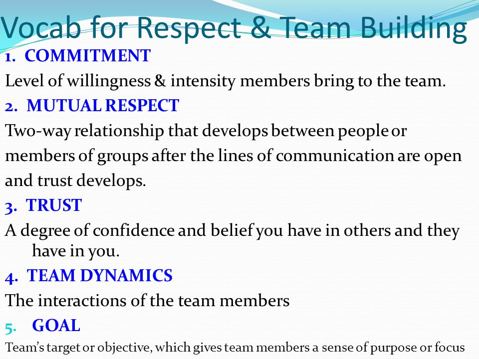 Vocab for Respect & Team Building