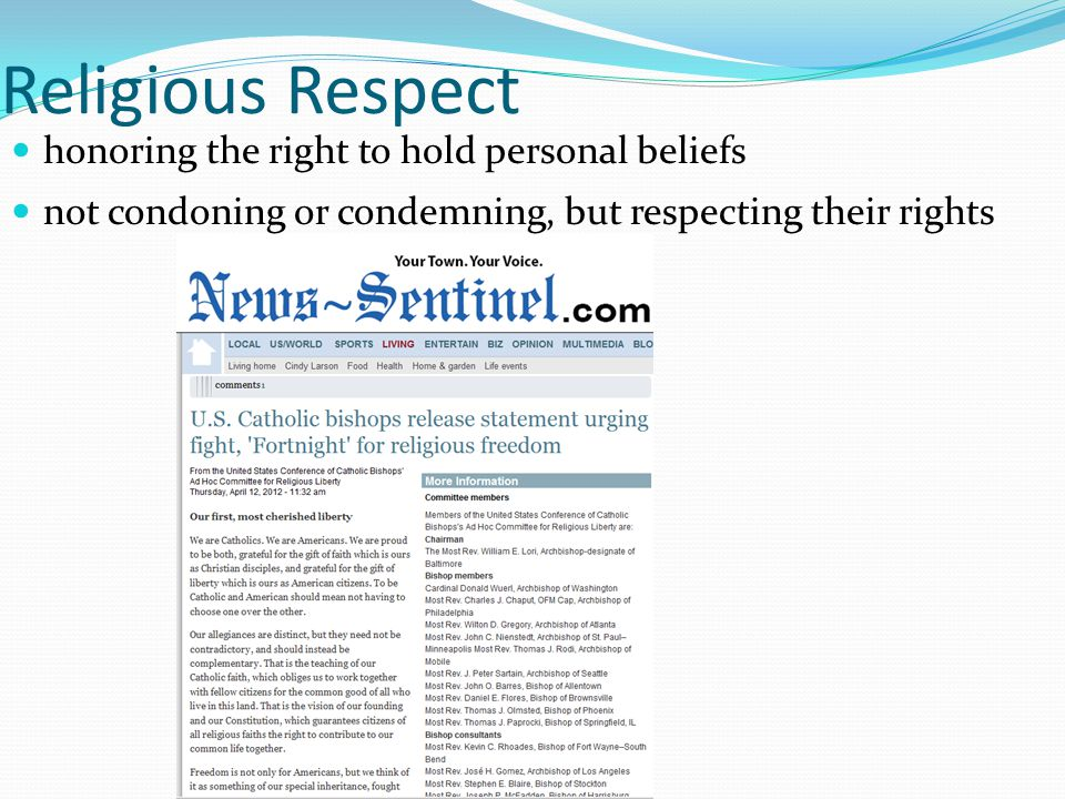 Religious Respect honoring the right to hold personal beliefs