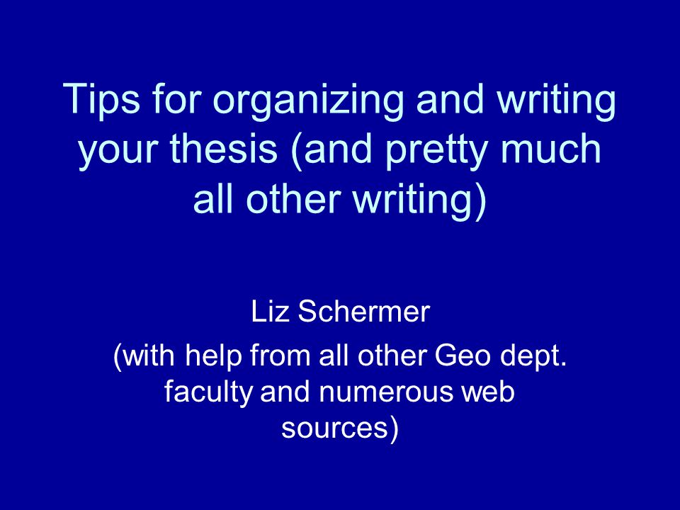 (with help from all other Geo dept. faculty and numerous web sources)