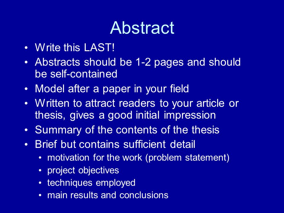 Abstract Write this LAST!