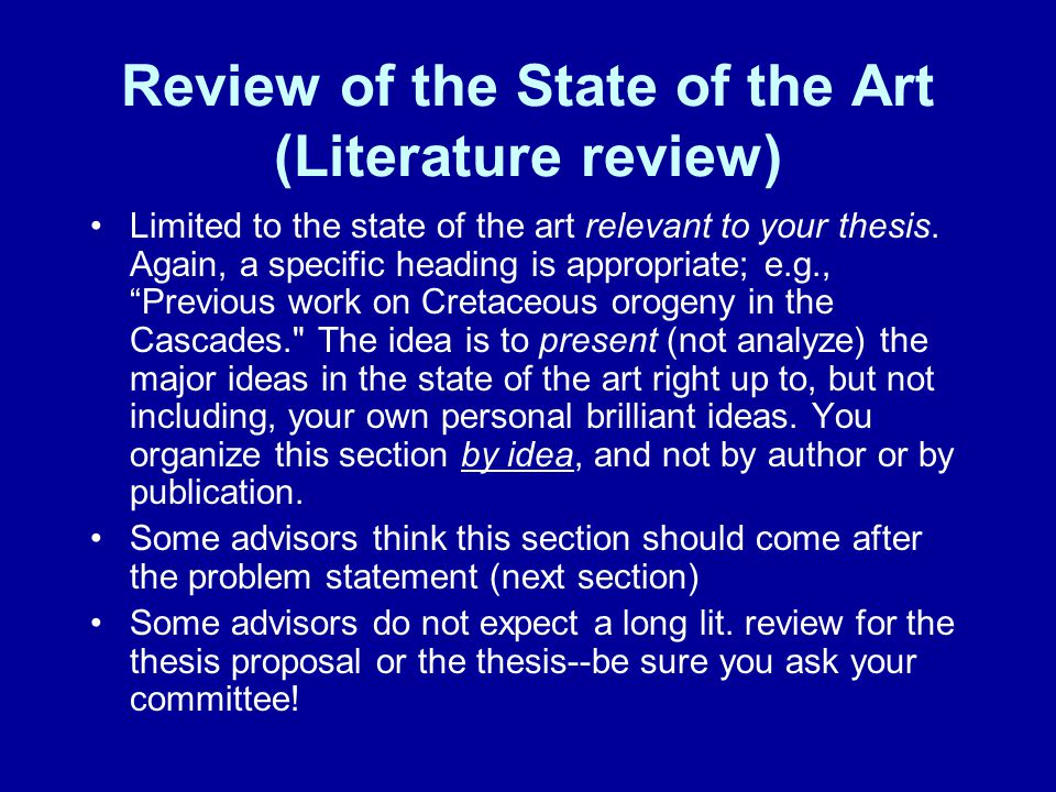 Review of the State of the Art (Literature review)