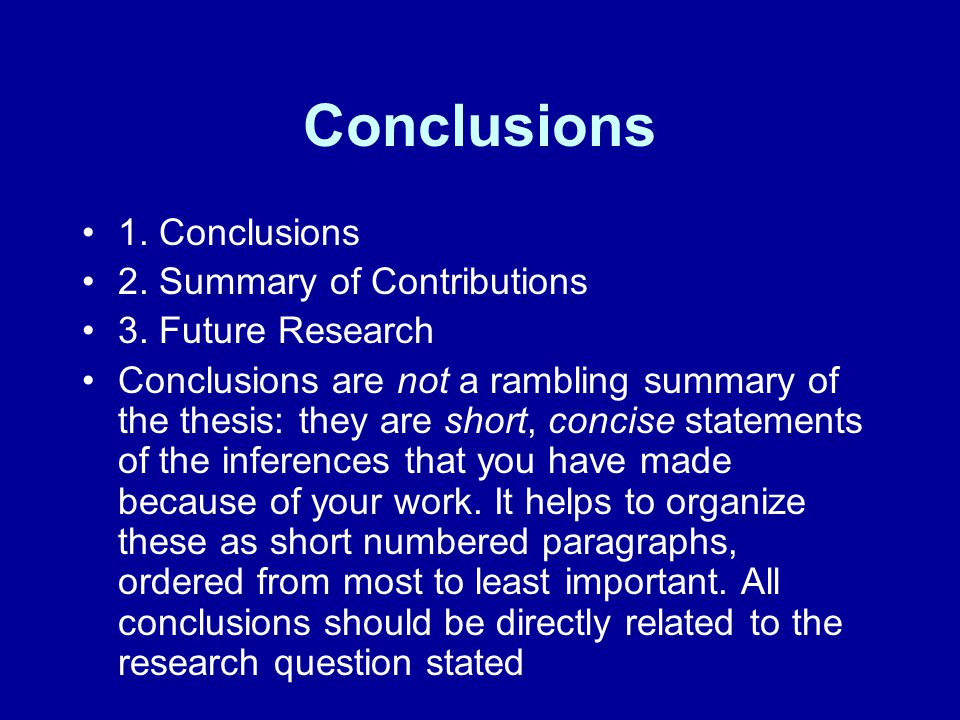 Conclusions 1. Conclusions 2. Summary of Contributions