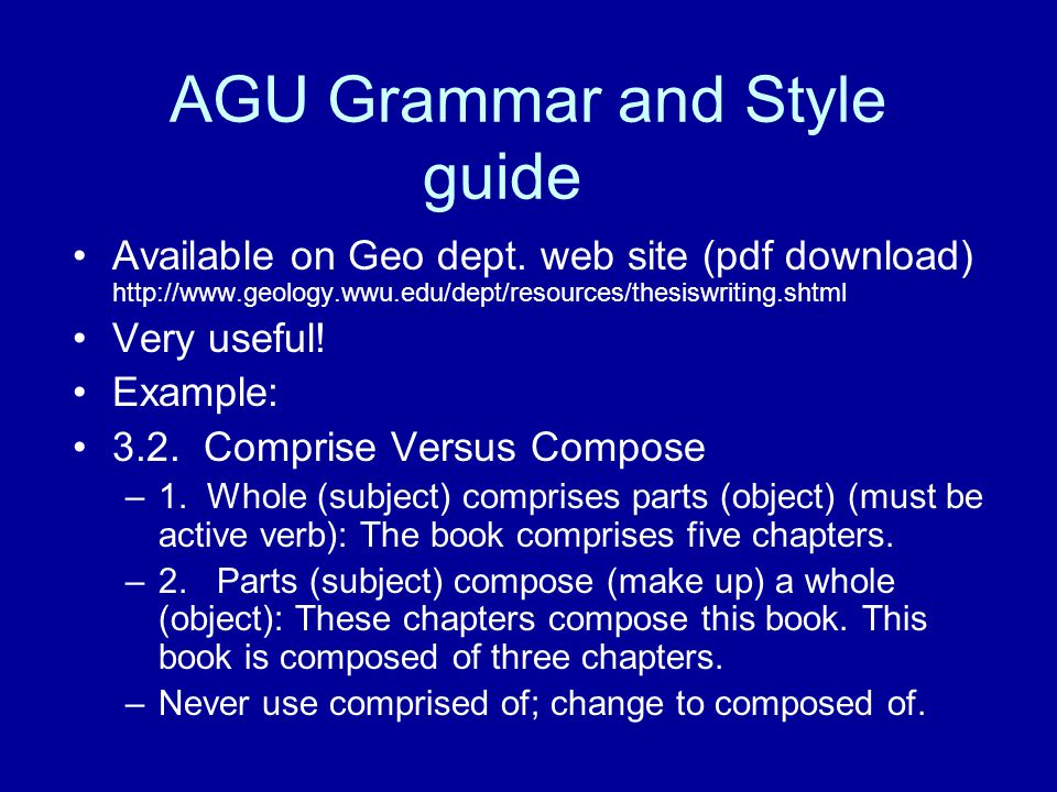 AGU Grammar and Style guide