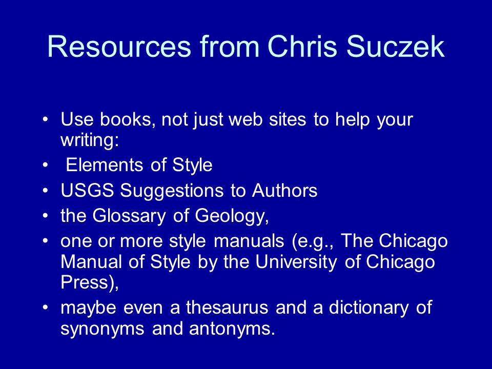 Resources from Chris Suczek