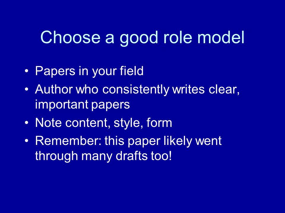 Choose a good role model