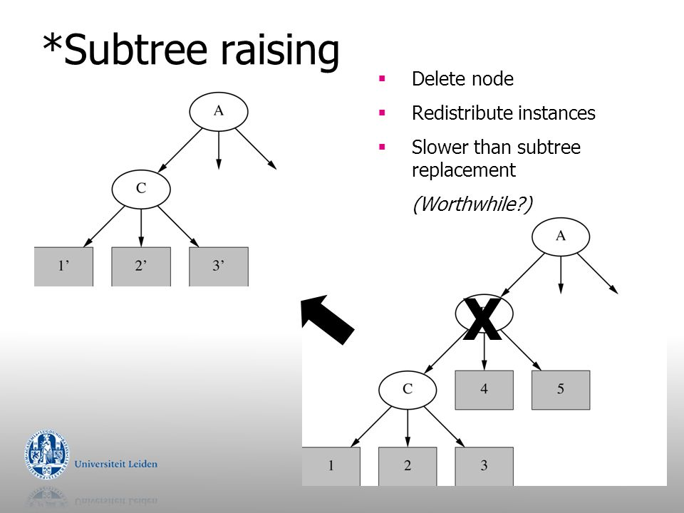 X *Subtree raising Delete node Redistribute instances