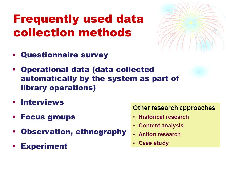 Frequently used data collection methods