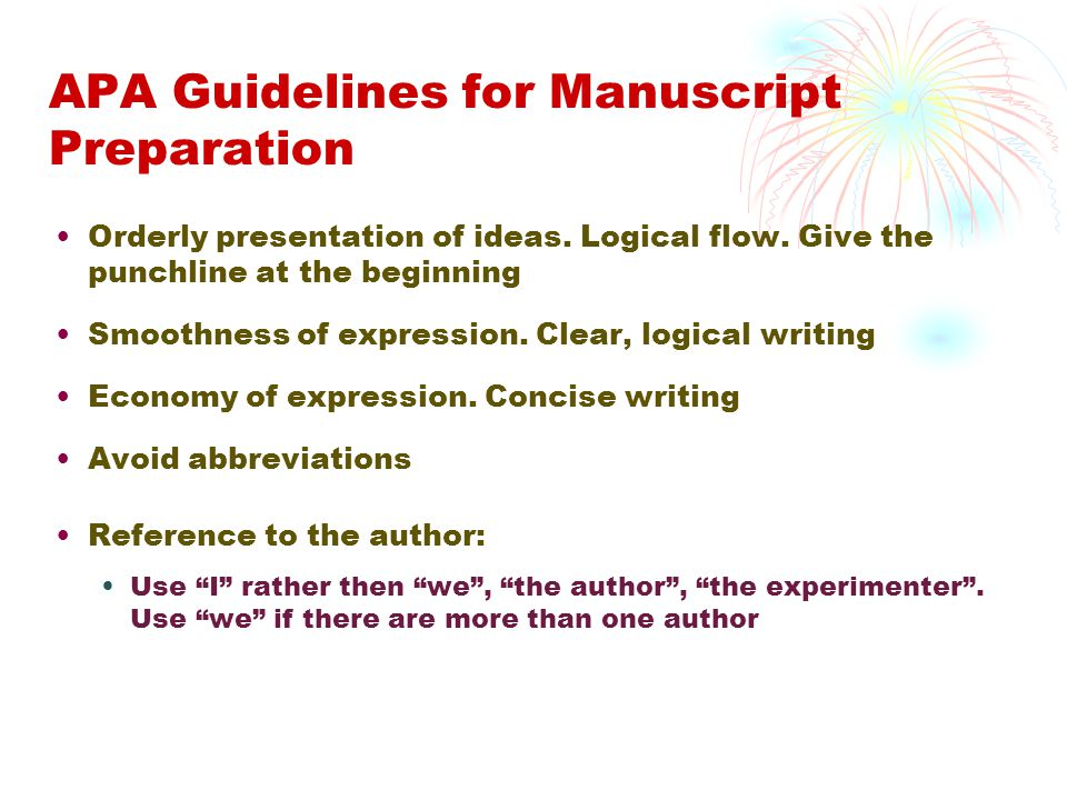 APA Guidelines for Manuscript Preparation
