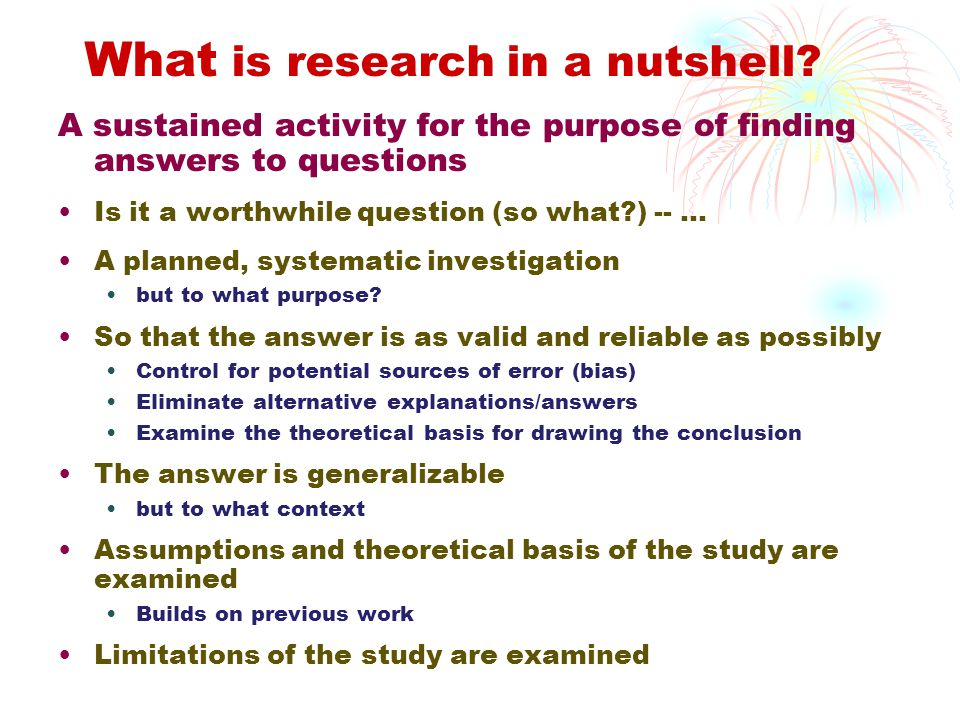 What is research in a nutshell