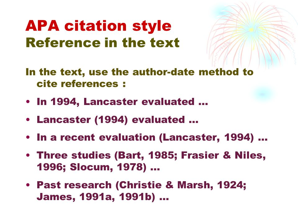 APA citation style Reference in the text