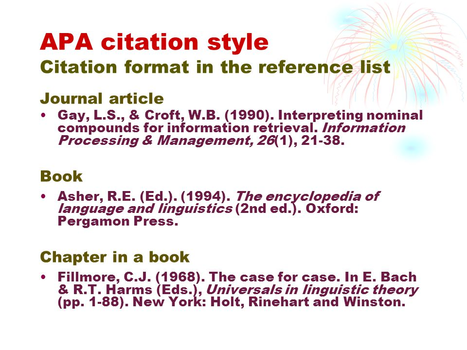 APA citation style Citation format in the reference list