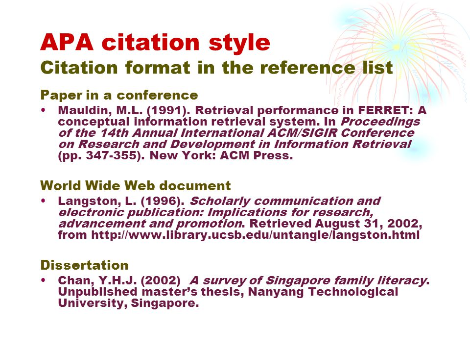 Apa dissertation citation format