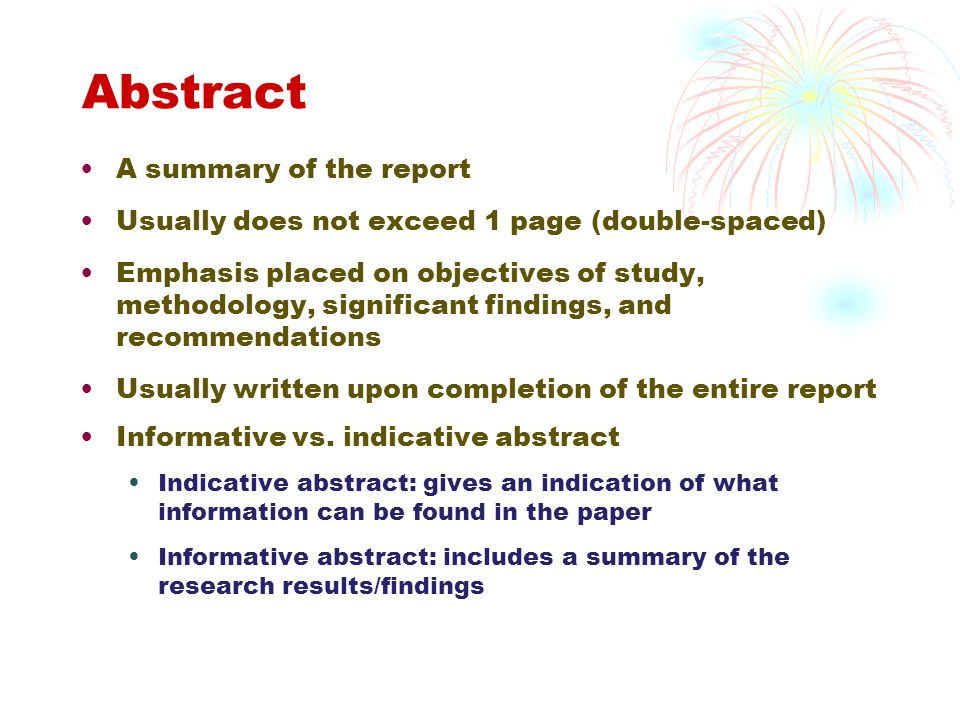 Abstract A summary of the report