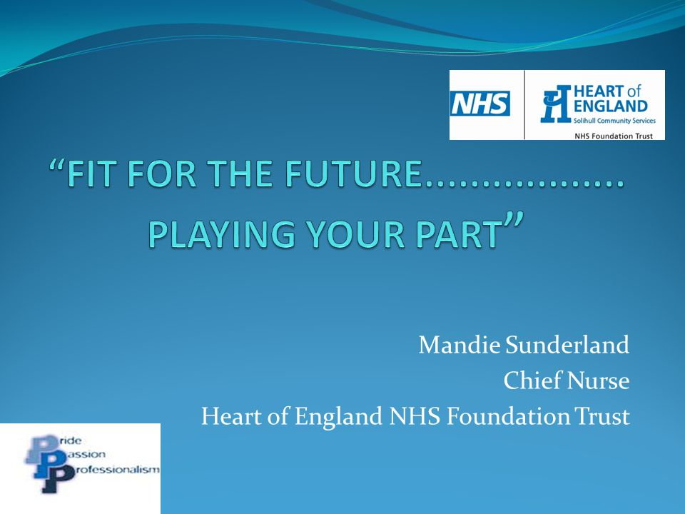 FIT FOR THE FUTURE.................. PLAYING YOUR PART