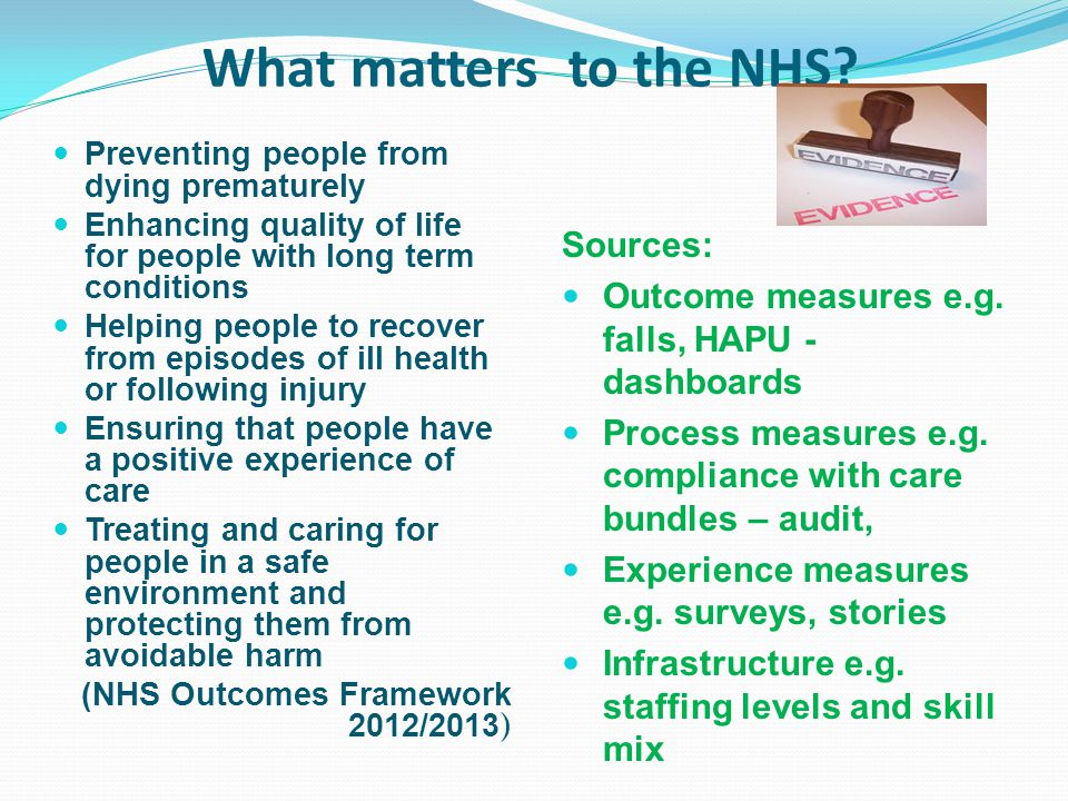 What matters to the NHS Sources: