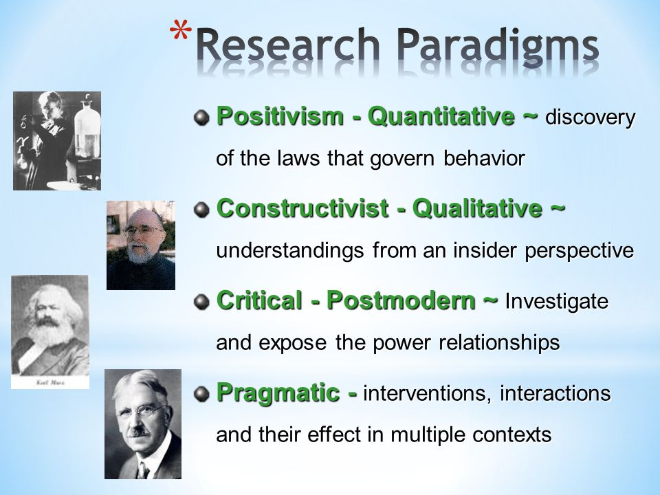 Research Paradigms Positivism - Quantitative ~ discovery of the laws that govern behavior.