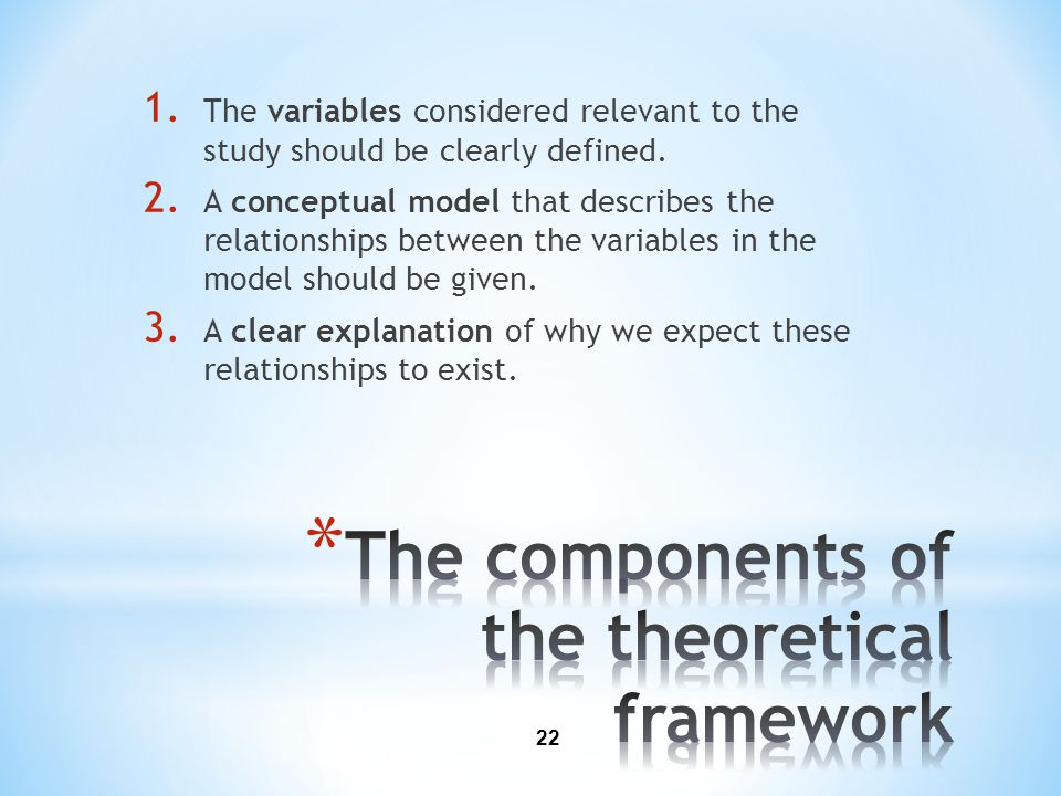 The components of the theoretical framework
