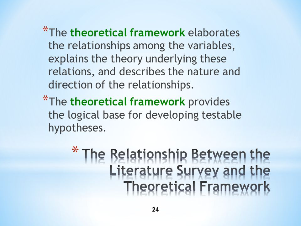 The theoretical framework elaborates the relationships among the variables, explains the theory underlying these relations, and describes the nature and direction of the relationships.