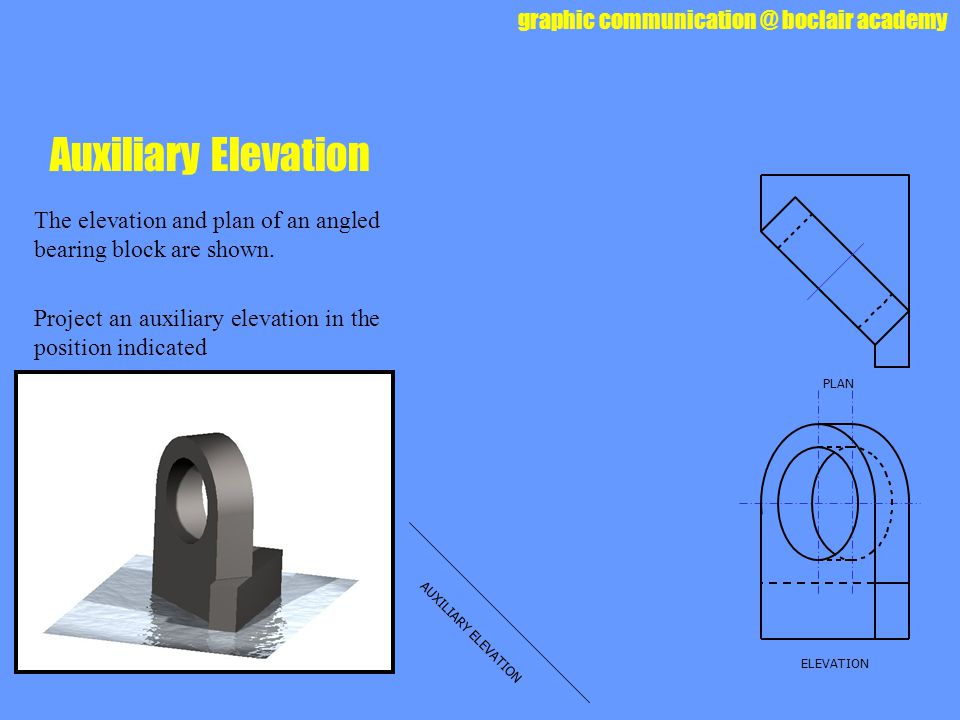 Auxiliary Elevation The elevation and plan of an angled bearing block are shown. Project an auxiliary elevation in the position indicated.