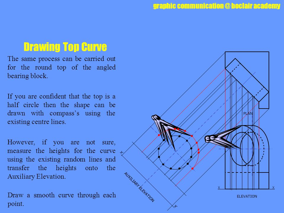 Drawing Top Curve The same process can be carried out for the round top of the angled bearing block.