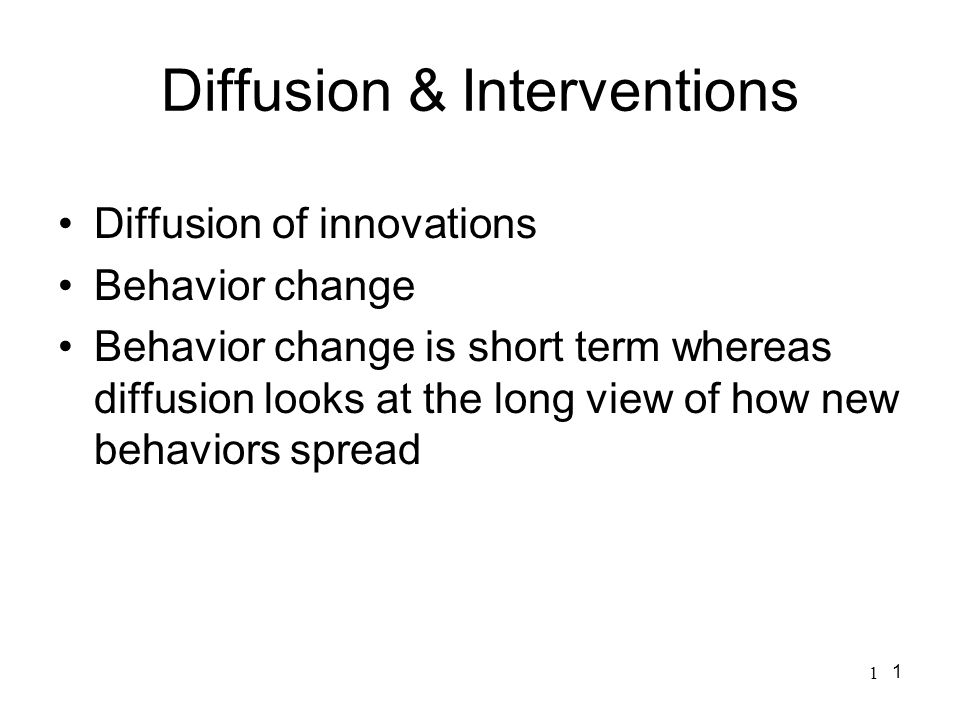 Diffusion & Interventions