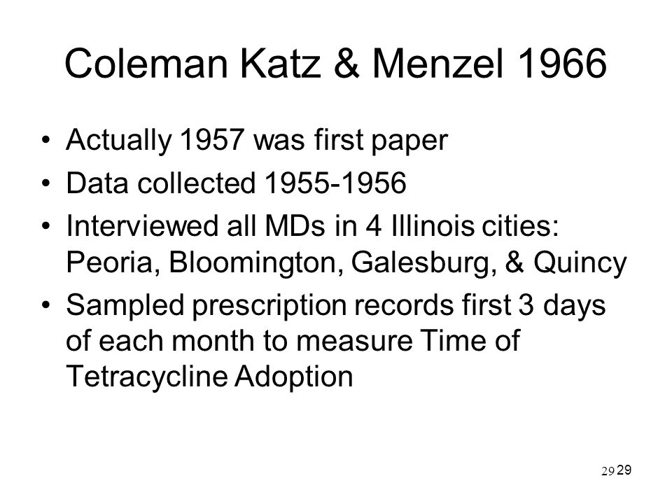 Coleman Katz & Menzel 1966 Actually 1957 was first paper
