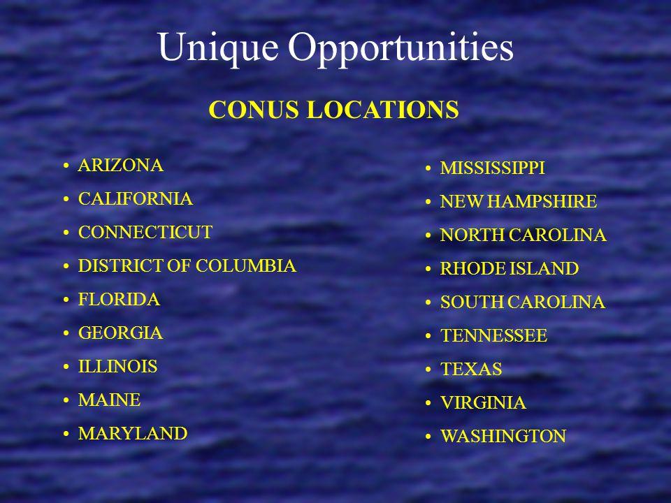 Unique Opportunities CONUS LOCATIONS ARIZONA MISSISSIPPI CALIFORNIA