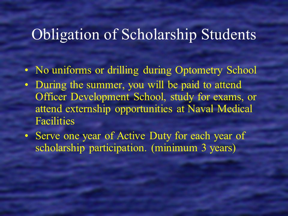 Obligation of Scholarship Students